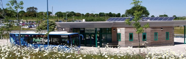 Green Infrastructure - Truro Park and Ride bus building and flowers