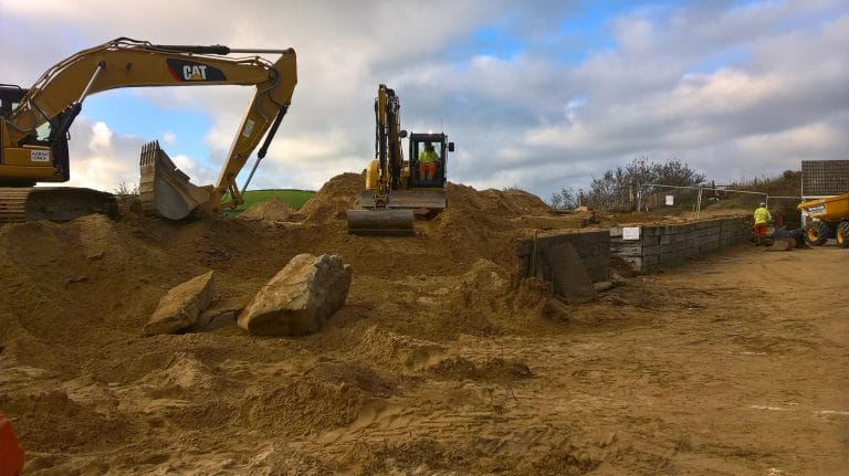 Excavating the car park extension