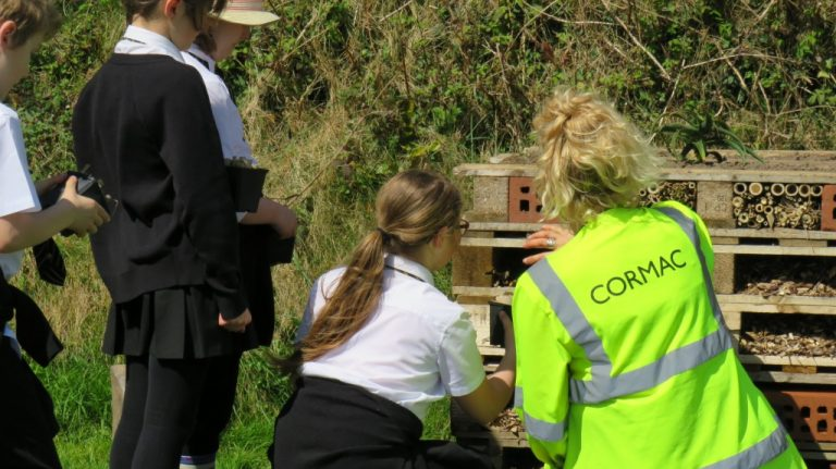 Constructing bug hotel. Photo credit Cormac